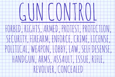 gun control: Gun control word cloud written on a piece of paper Stock Photo