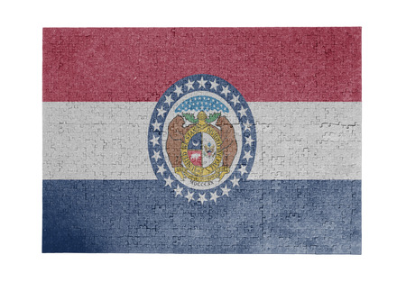 linkages: Large jigsaw puzzle of 1000 pieces Missouri flag Stock Photo
