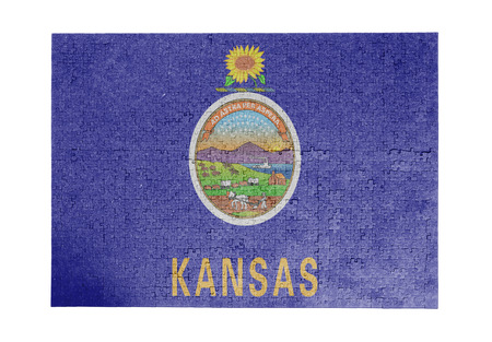 linkages: Large jigsaw puzzle of 1000 pieces Kansas flag