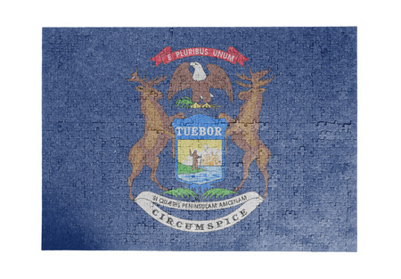 michigan flag: Large jigsaw puzzle of 1000 pieces Michigan flag