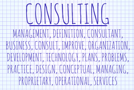 Consulting word cloud written on a piece of paper