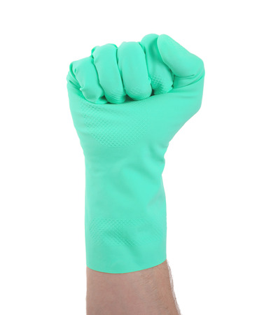 rubber glove: Rubber glove isolated on white, making fist Stock Photo
