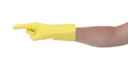 directional: Hand in an cleaning glove making a directional sign on white background