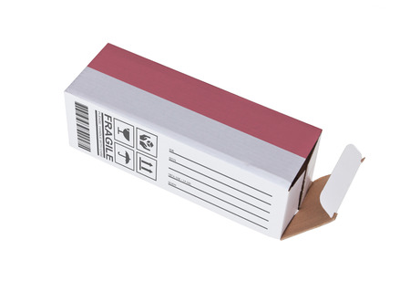 product box: Concept of export, opened paper box - Product of Indonesia