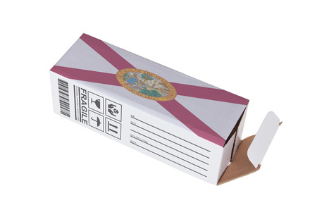 adress: Concept of export, opened paper box - Product of Florida