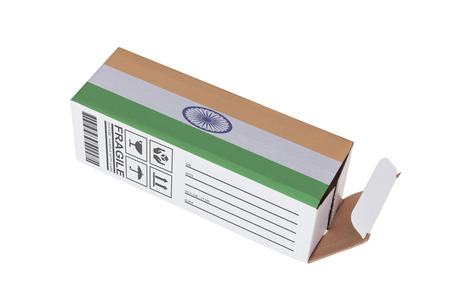 adress: Concept of export, opened paper box - Product of India