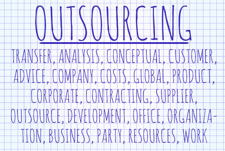 supplier: Outsourcing word cloud written on a piece of paper