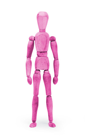 bodypaint: Wood figure mannequin with bodypaint on white background - Pink Stock Photo
