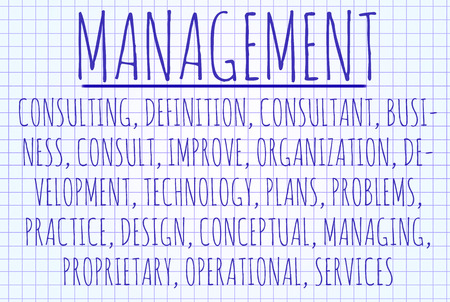 entities: Management word cloud written on a piece of paper Stock Photo