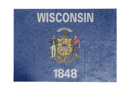 wisconsin flag: Large jigsaw puzzle of 1000 pieces Wisconsin flag