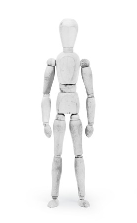bodypaint: Wood figure mannequin with White bodypaint on white background