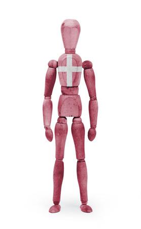 bodypaint: Wood figure mannequin with Denmark flag bodypaint on white background