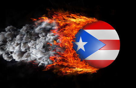 puerto rican flag: Concept of speed - Flag with a trail of fire and smoke - Puerto Rico Stock Photo