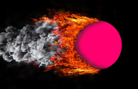 pink smoke: Concept of speed - Ball with a trail of fire and smoke - pink