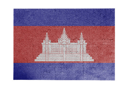 Large jigsaw puzzle of 1000 pieces - flag - Cambodia Stock Photo