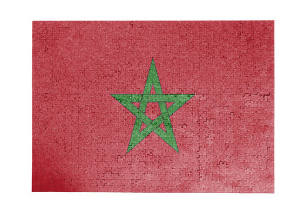 linkages: Large jigsaw puzzle of 1000 pieces - flag - Morocco Stock Photo