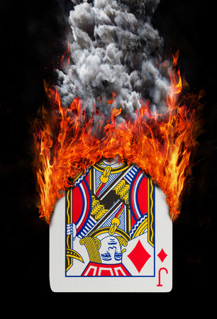 jack of diamonds: Playing card with fire and smoke, isolated on white - Jack of diamonds