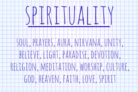 Spirituality word cloud written on a piece of paper
