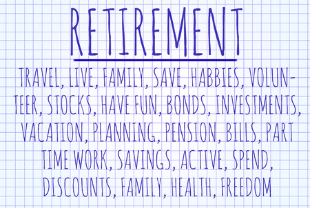 estimate: Retirement word cloud written on a piece of paper Stock Photo