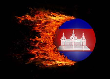 cambodian flag: Concept of speed - Flag with a trail of fire - Cambodia