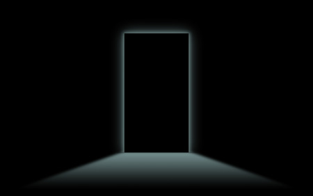 to the other side: Black door with bright neonlight at the other side - White