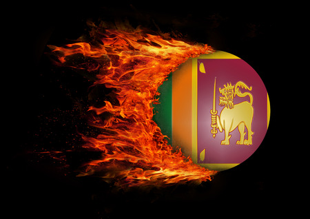 sri lankan flag: Concept of speed - Flag with a trail of fire - Sri Lanka