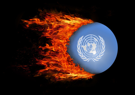 united nations: Concept of speed - Flag with a trail of fire - United Nations