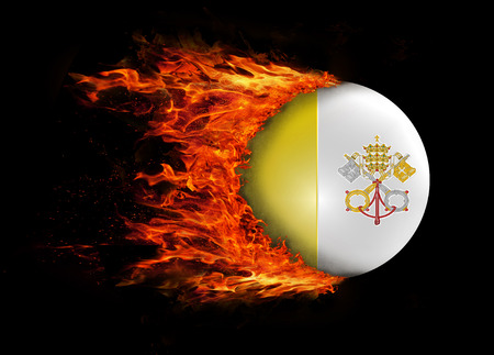 vatican city: Concept of speed - Flag with a trail of fire - Vatican City