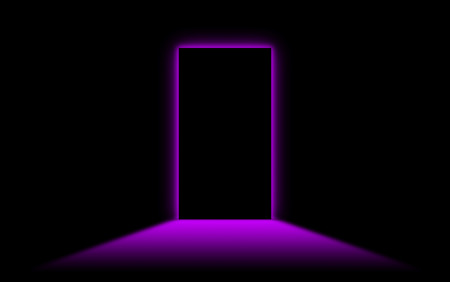 Black door with bright neonlight at the other side - Purple