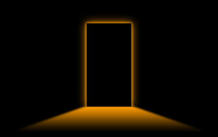 neonlight: Black door with bright neonlight at the other side - Orange
