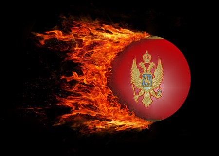 trail: Concept of speed - Flag with a trail of fire - Montenegro