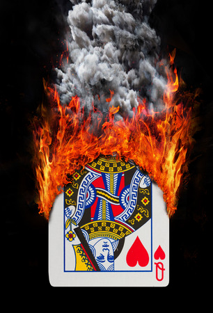 queen of hearts: Playing card with fire and smoke, isolated on white - Queen of hearts