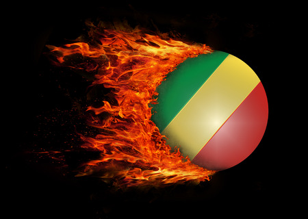 trail: Concept of speed - Flag with a trail of fire - Congo Stock Photo