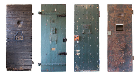 jail background: Collection of four old prison doors, prisons in the Netherlands
