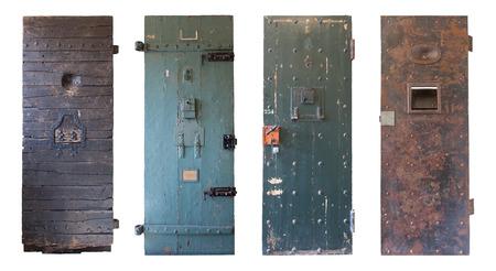 Verzameling van vier oude gevangenis deuren, gevangenissen in Nederland Stockfoto