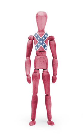 jointed: Jointed wooden mannequin isolated on white background, Confederate flag