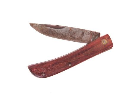 pocket knife: Rusty pocket knife isolated on white background