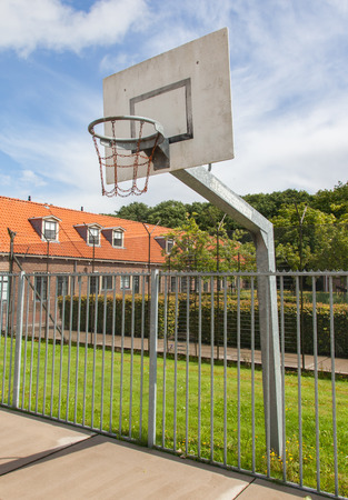 prison yard: Basketball court in an old jail, the Netherlands Stock Photo