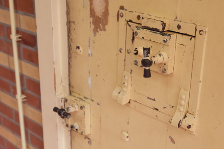 imprison: Old lock in a prison, selective focus Stock Photo