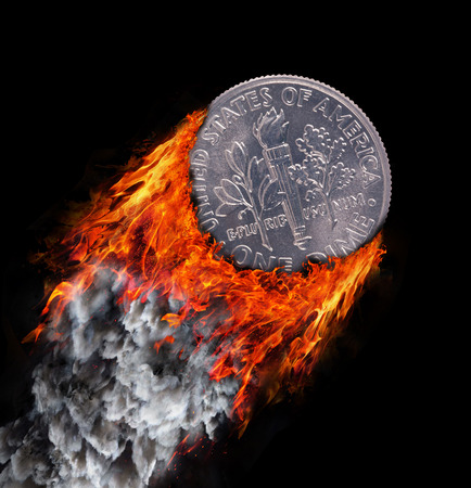 dime: Burning coin with a trail of fire and smoke - one dime