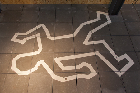 murder scene: Crime scene chalk line of a body