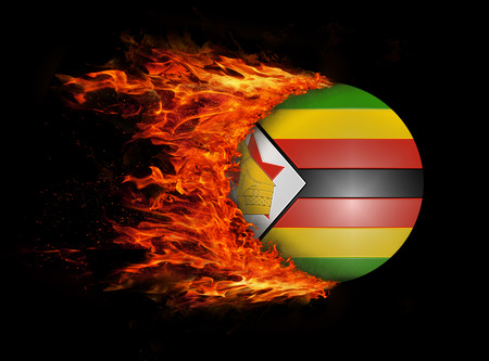 trail: Concept of speed - Flag with a trail of fire - Zimbabwe