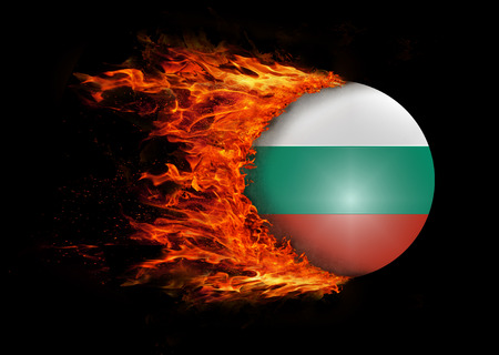 trail: Concept of speed - Flag with a trail of fire - Bulgaria Stock Photo