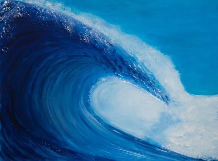 Het schilderen van een zeer grote golf, blauw