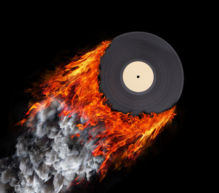 electronic background: Concept of speed - Trail of fire and smoke - Vinyl record Stock Photo