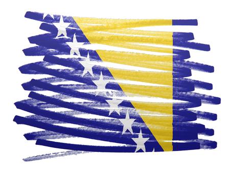 bosnia and herzegovina flag: Flag illustration made with pen - Bosnia Herzegovina Stock Photo