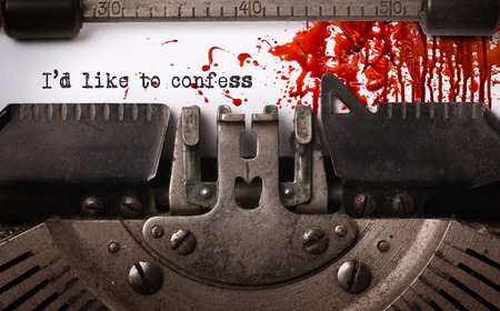 Bloody note - Vintage inscription made by old typewriter, Confession