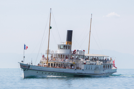 geneva: Swiss excursion boat sailing on Lake Geneva Editorial