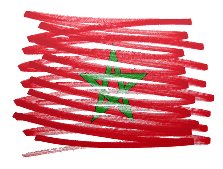 made in morocco: Flag illustration made with pen - Morocco