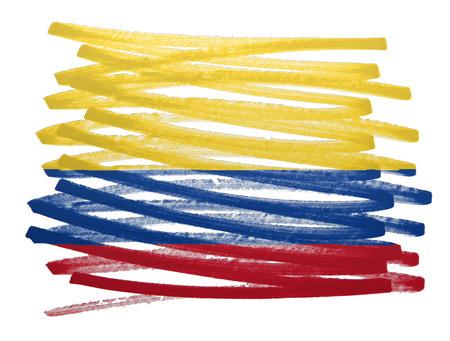 bandera de colombia: Ilustración de la bandera hecha con pluma - Colombia Foto de archivo